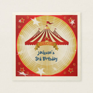 Red Circus Tent, Custom, Birthday Disposable Napkins