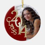 Red Class 2014 Graduation Photo Round Ceramic Ornament