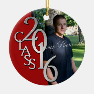 Red Class of 2016 Graduate Photo Round Ceramic Ornament