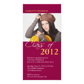 Red class of graduation photo announcement card custom photo card
