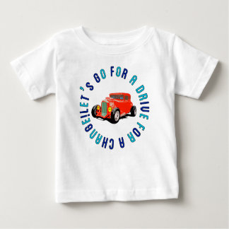 Red classic car baby t-shirts lead classic car