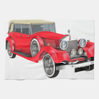 Red Classic Car Kitchen Towel