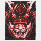 Red Classic Demon Samurai Custom Large Fleece Blanket