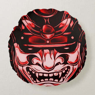 Red Classic Demon Samurai Mask Round Pillow