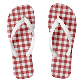 Red Classic Gingham Check Flip Flops Adult