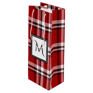 Red Classic Plaid Monogram Wine Gift Bag