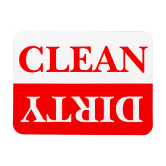 Red Clean and Dirty Dishwasher Rectangular Photo Magnet