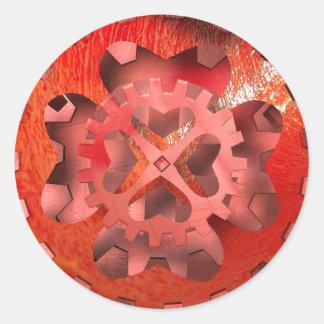 red clockwork classic round sticker
