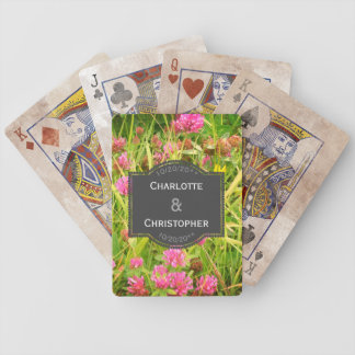 Red Clover And Buttercup Personalized Wedding Bicycle Playing Cards