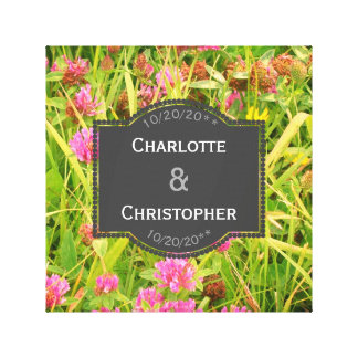 Red Clover And Buttercup Personalized Wedding Canvas Print