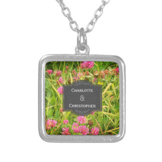 Red Clover And Buttercup Personalized Wedding Silver Plated Necklace