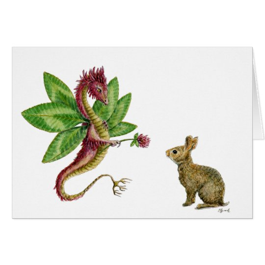 Red Clover Dragon - notecard