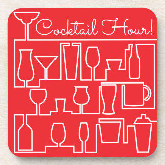 Red cocktail party coaster