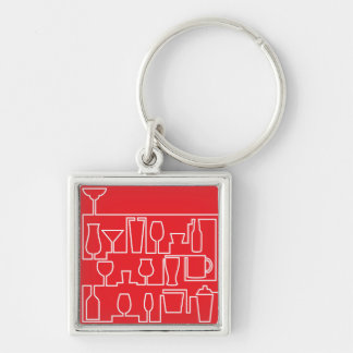 Red cocktail party keychain