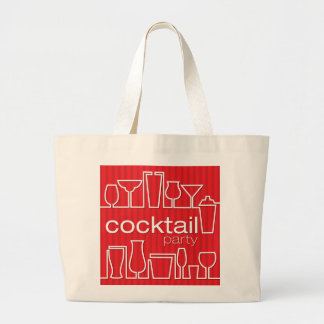 Red cocktail party large tote bag