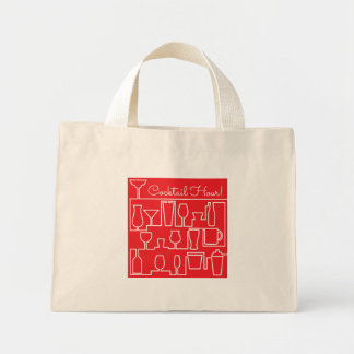 Red cocktail party mini tote bag