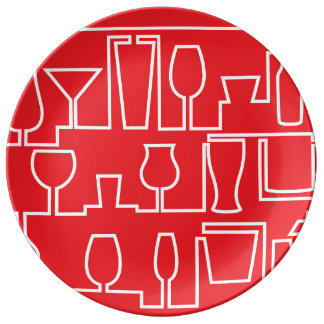 Red cocktail party plate