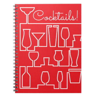 Red cocktail party spiral notebook