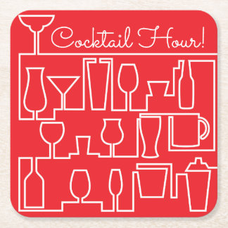 Red cocktail party square paper coaster