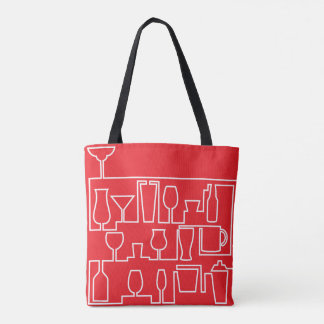 Red cocktail party tote bag
