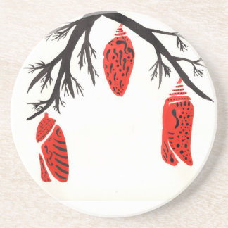 Red Cocoons On A Black Branch Beverage Coaster