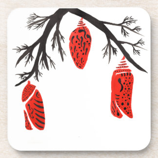 Red Cocoons On A Black Branch Coasters