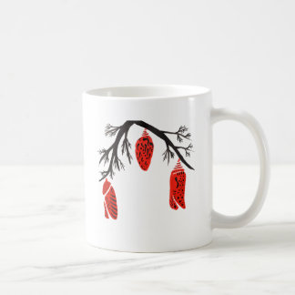 Red Cocoons On A Black Branch Coffee Mug