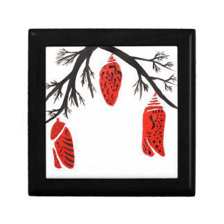 Red Cocoons On A Black Branch Keepsake Box