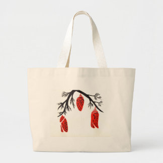 Red Cocoons On A Black Branch Large Tote Bag