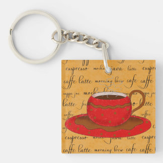 Red Coffee Cup Art on Gold Script Words Double-Sided Square Acrylic Keychain