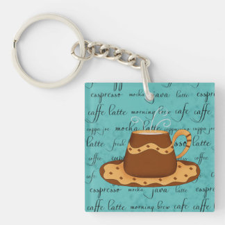 Red Coffee Cup Art on  Turquoise Script Words Double-Sided Square Acrylic Keychain