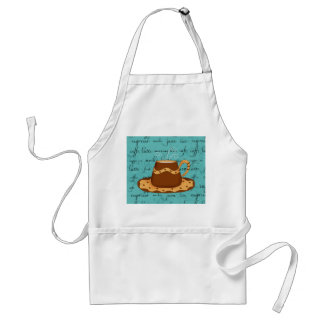 Red Coffee Cup Art on  Turquoise Script Words Standard Apron