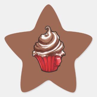 Red Coffee Cupcake coffee Star Sticker