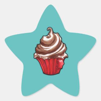 Red Coffee Cupcake teal Star Sticker