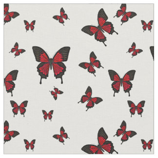 Red colored Butterfies, Swallow tail Butterfly Fabric