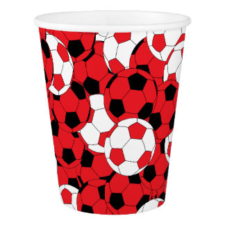 Red Colored Soccer Balls Paper Cup