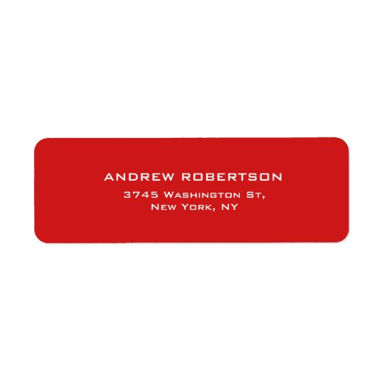 Red Colour Plain Elegant Contemporary Unique Return Address Label