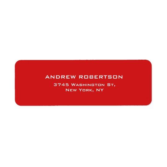Red Colour Plain Elegant Contemporary Unique Return Address Label