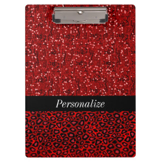 Red Confetti Glitter and Jaguar Animal Print Clipboard