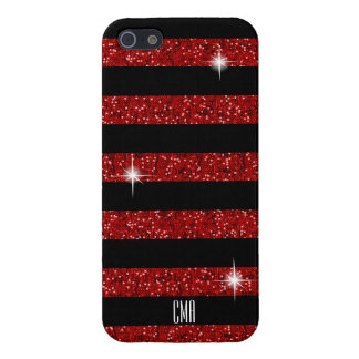 Red Confetti Glitter & Black Stripes | Monogram iPhone 5 Case