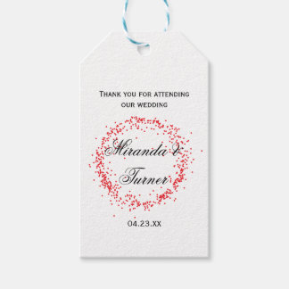 Red Confetti Wedding Thank You - Gift Tag