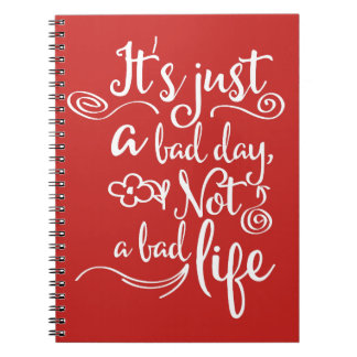 Red Confidence, Happiness Attitude Life Quote Spiral Notebook