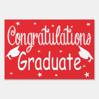 Red Congratulations Graduate Yard Sign