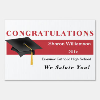 Red Congratulations Graduation Yard Sign