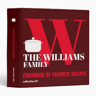 red cookbook with cooking pan for family recipes binders
