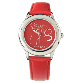 Red Cool Cats Drawing Adorable Love Trendy Chic Watch