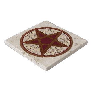 Red & Copper Celtic Knot Pentagram Stone Trivet