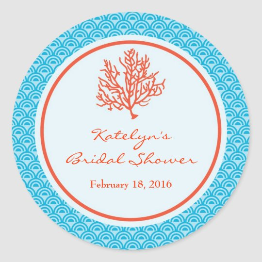 Red Coral Favour Sticker