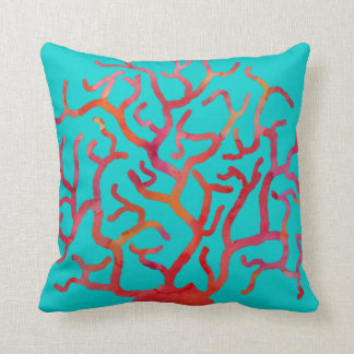 Red Coral on Turquoise Throw Pillow