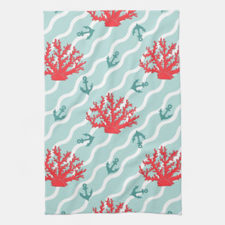 Red Coral Pattern 1 Hand Towels